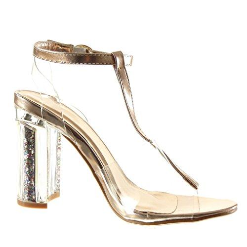 ... 10 cm; Absatzform: Blockabsatz. Angkorly - damen Schuhe Sandalen -  T-Spange - Sexy - transparent - glitzer ...