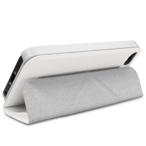 iPhone Case SE, GreatShield ORI-Style Housse de protection Housse en cuir avec support réglable pour Apple iPhone SE - Retail Packaging (Blanc)