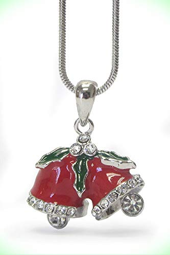 CHRISTMAS BELLS Red Pendant Necklace For Women White Gold Plating Crystal Necklace For Women