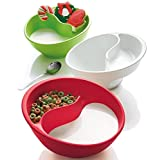 Obol - The Original Never Soggy Cereal Bowl / With The Spiral Slide Design 'n Grip - Med White