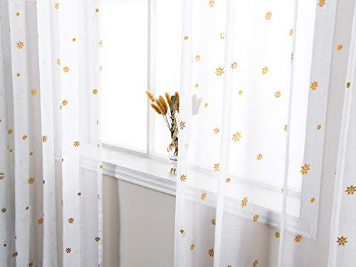 - AmHoo Sheer Curtain Foil Print Gold Snowflak Pattern Semi Voile Sheer Curtain Panel Grommet Top Panels Set of 2 for Living Bedroom Window Treatment (White(Gold snowflak), 52 x 63 Inch)