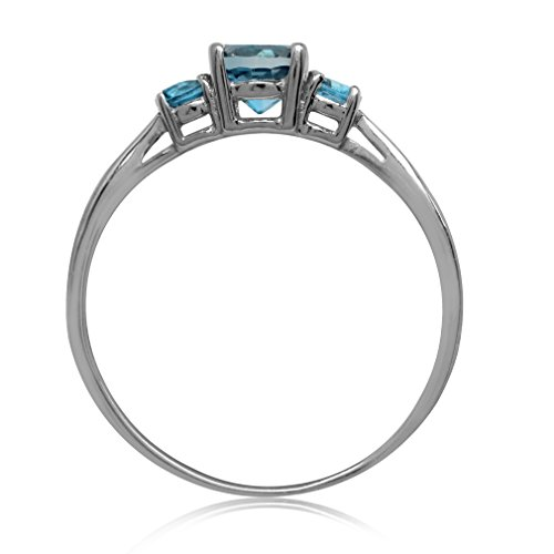Petite 3-Stone Genuine London Blue Topaz White Gold Plated 925 Sterling Silver Promise Ring Size 12