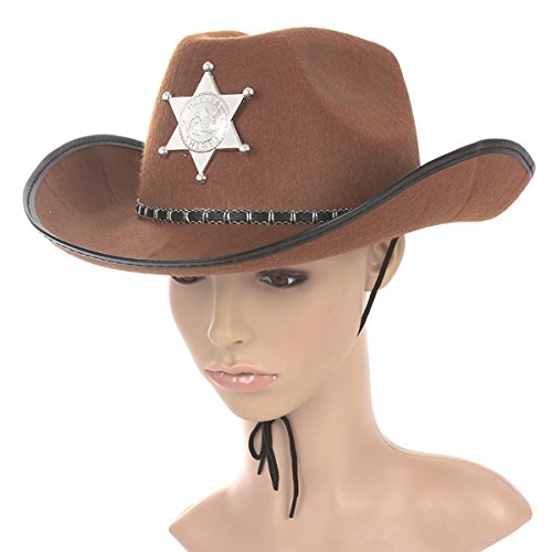 Cowboy Hat Western Sheriff Hat Fancy Dress Cowboy Themed Birthday Halloween Christmas Party Costume (Zombie Cowgirl Costumes)