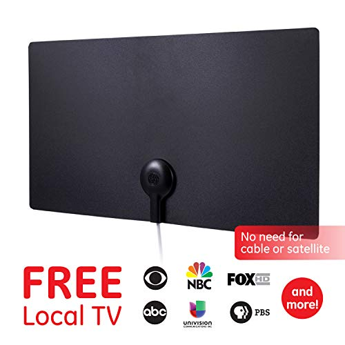 GE Ultra Edge Indoor TV Antenna, 50 Mile Range, Home Decor, Digital, HDTV Antenna, Smart TV Compatible, 4K 1080P VHF UHF, 6ft Coaxial Cable, Amplifier, Signal Booster, 33678