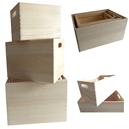 LS Design 3x Allzweckkiste Aufbewahrung Holzbox Holzkiste Regal Ordnung Kiste