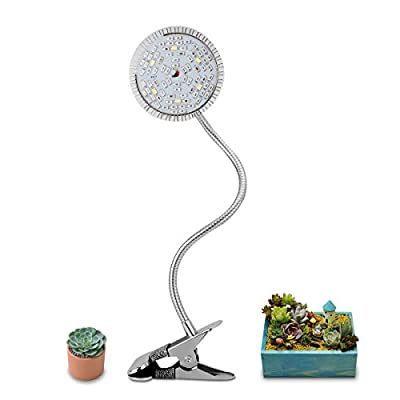 Exmate LED Grow Light for Plants Indoor, Desk 15W Plant Growing Light Bulb with Adjustable Flexible 360 Degree Lights Seedling Fruit Veg Flower Hydroponics Greenhouse Gardening