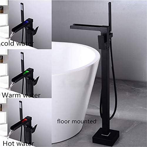 浴槽の蛇口、 自立型バスタブ蛇口付ハンドシャワー浴槽フィラーバスタブ蛇口バスタブ蛇口滝スパウトタブブラック 掃除とメンテナンスが簡単 (Color : Black a, Size : Free size)