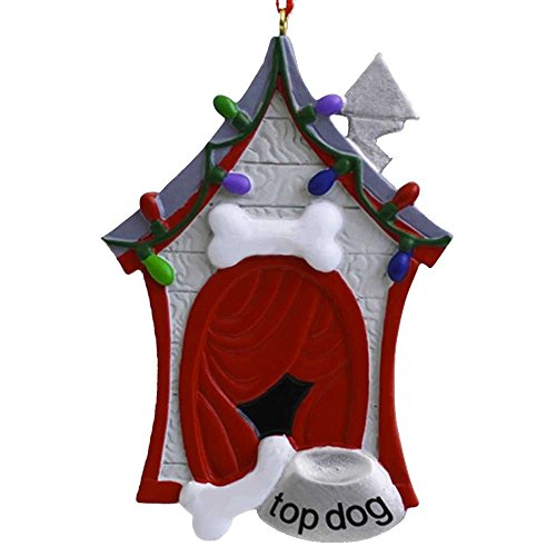Personalized Dog House Christmas Tree Ornament 2019 - Red Wooden Kennel Bone Top Bowl Garnished Light Puppy Breed Neutral Faithful Friend Forever Furever Holiday Aww - Free Customization