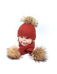 046cb5953326e LUCKY-U Gorros De Punto Sombreros Bufanda Sombrero Invierno Niño Bebé Macho  Y Hembra Al Aire Libre Ocio Mantener Caliente Niño…