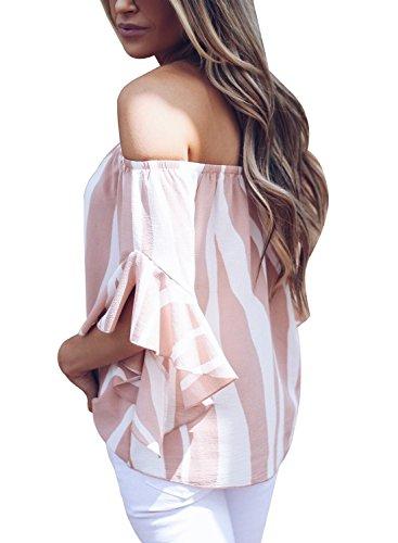 d90333467b9 Asvivid Womens Striped Strapless 3 4 Bell Sleeve T Shirts Casual Chiffon  Work Blouses Medium Pink