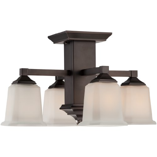 Quoizel QF1213SHO  Quoizel Fixture 4-Light Semi-Flush Mount, Harbor Bronze
