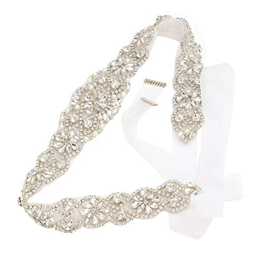 Bridal Rhinestone Wedding Belts Hand Clear Crystal 22In Length For Bridal Gowns (Silver-White Organza)