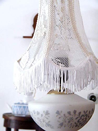 White Lace Fabric Lamp Shade Ooak Handmade Vintage Table