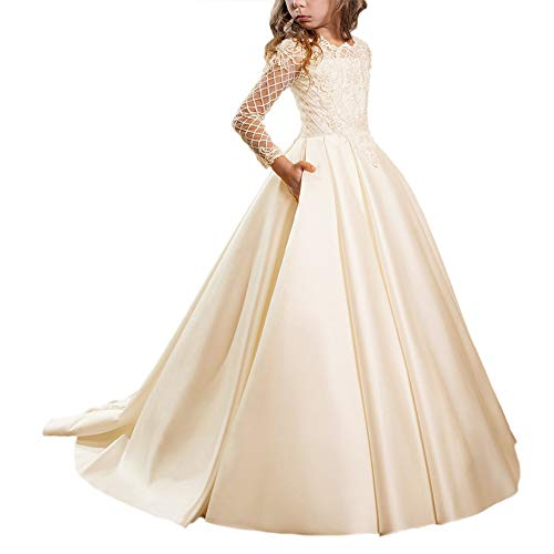 WDE Satin Champagne First Communion Dresses for Girls with Sleeves Long Ball Gown US12 ()