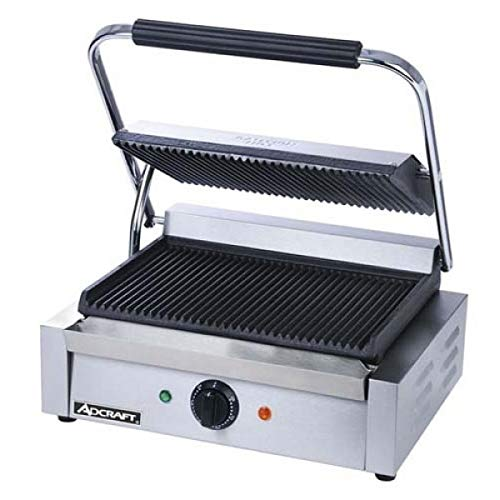 (Adcraft SG-811E Grooved Electic Panini Grill, Stainless Steel, 1750-Watts, 120v, NSF)