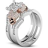 Fashion Two Tone 925 Silver Princess Cut White Sapphire Skull Wedding Ring Set#by pimchanok shop (7)