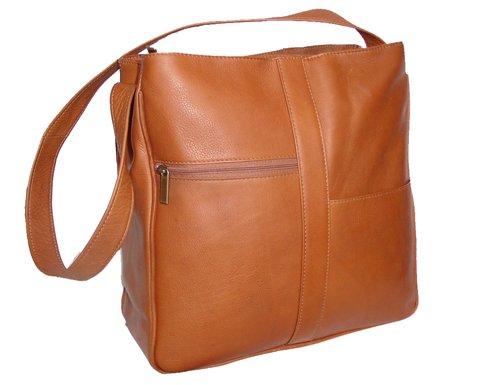 David King & Co. Double Top Zip Shoulder Bag 820 , Tan, One Size Double Top Zip Shoulder Bag