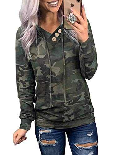 Asyoly Women's Casual Hoodies Sweatshirt Long Sleeve Printed Drawstring V-Neck Pullover Tops with Pockets