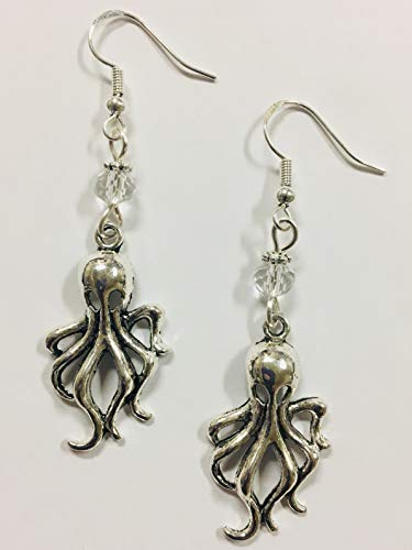 Octupus or Squid Earrings, Beach Earrings, Nautical Earrings, Coastal Earrings - with turquoise faceted crystal accent beads, on sterling silver -