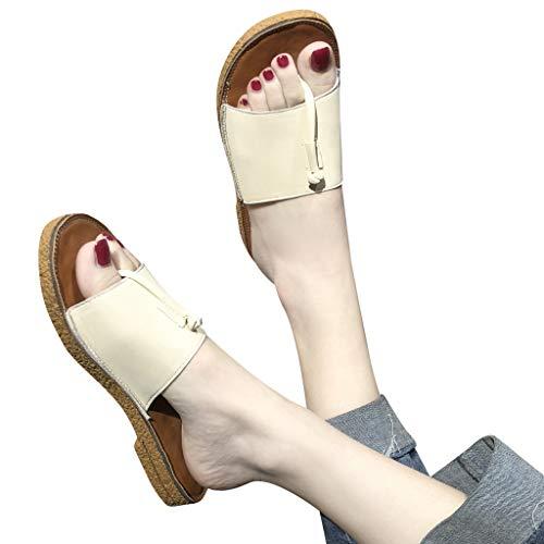 WEISUN Flat Sandals Women Summer Fashion Bottom Slippers Open Toe Flip Flops Beach Shoes White