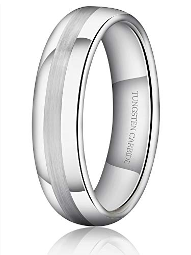 - Just Lsy Men's 6mm Tungsten Ring Matte Finish Brushed Center Classic Wedding Band Engagement Comfort Fit Size 14 Lsy-021