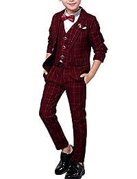 Fengchengjize Boys Formal 3pcs Slim Fit Classic Tuxedo Suits Wedding Party