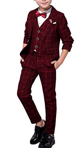 (3 Pcs Utility Boys Set Suits Clothing Wedding Costume Suits Overall Jacket Vest Pants Plaid Dress Suit for Special Occasion Dress Suit Size 110cm)
