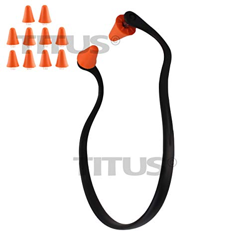 Titus U-Band - Over Ear Reuseable Banded Ear Plugs (25 Decibel, 1 Band, 10 Replacement Plugs) - Head Ear Plug