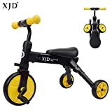 XJD 2 In 1 Baby Trike Toddlers Tricycle Lightweight and Folding For Boys or Girls Ages 18 Months and up (black)