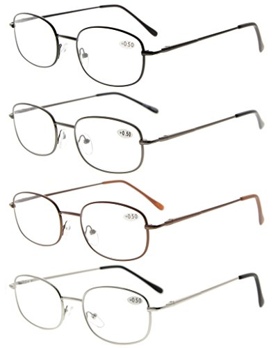 Eyekepper Metal Frame Spring Hinged Arms Reading Glasses Pack of 4 Pairs(1 Pair of per Color) - Frame Spring Loaded