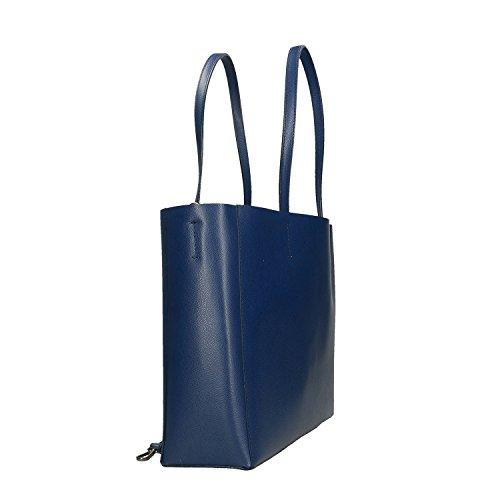 Bleu fabriqué main à Italie véritable Chicca cuir Femme Borse en Sac Cm en 38x30x12 q8xwOfwR