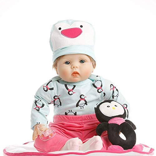 SanyDoll Reborn Baby Doll Soft Silicone 22inch 55cm Magnetic Lovely Lifelike Cute Lovely Baby Toy - Penguin Body Full