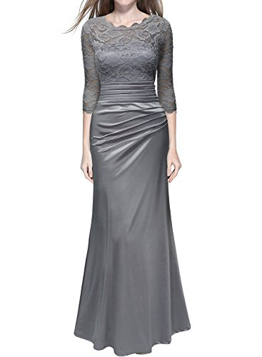 Miusol Women's Retro Floral Lace Vintage 2/3 Sleeve Slim Ruched Wedding Maxi Dress,Silver Gray,X-Large