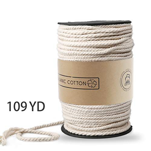 Macrame Rope, ZOUTOG 5mm x 109 yd (About 100m) Natural Cotton Soft Unstained Rope for Handmade Plant Hanger Wall Hanging Craft Making ()