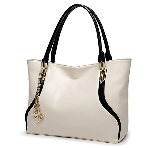DALFR PU Handbags For Women Simple Laides Shoulder Tote Bag Purse (White)
