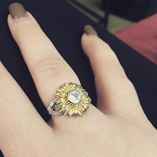 HHoo88 Exquisite Womens Sun Floral Ring Diamond Sunflower Jewelry Ring Floral Boho Rings Wedding Gifts Party Ring