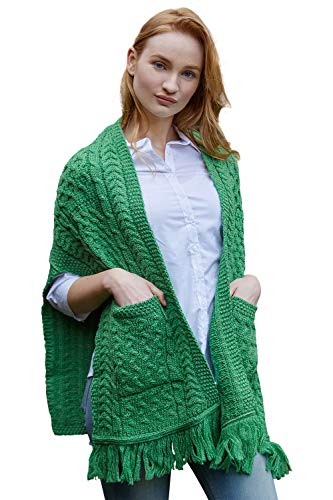 The Irish Store 100% Irish Merino Wool Ladies Pocket Shawl by West End Knitwear