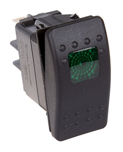 Daystar, Universal Rocker Switch with Green Light, 20 Amp, Single Pole, KU80012, Made in America