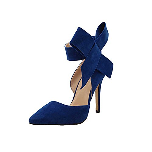 Rawdah Fashion Women Spring Women Pumps With A Big Bow Bow Tie With Sharp Toe Tip Suede Hollow Stilettos Plus Size High Heels Shoes Blue 6pMoiS