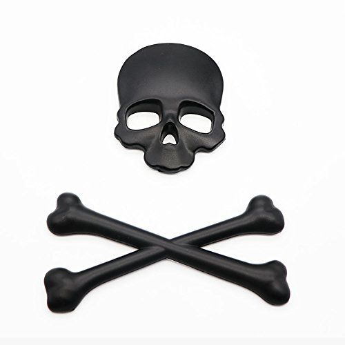 Skull Badge (3D Skull Metal Skeleton Crossbones Car Motorcle Sticker Label Skull Emblem Badge Car Styling Stickers Accessories)