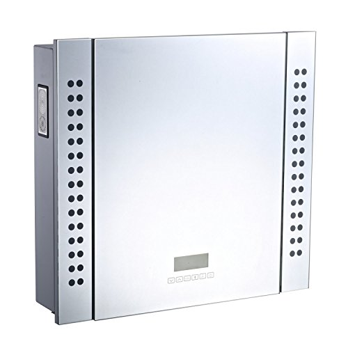 HOMCOM 25 x 23 Wall Mounted LED Lit Bathroom Mirror Cabinet with Bluetooth Speaker, Shaver Socket Outlet and LCD Display