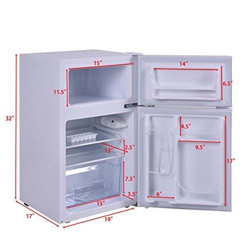 Costway 2-Door Apartment Size Refrigerator 3.2 cu ft. Unit ...