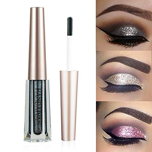 GL-Turelifes Diamond Glitter Liquid Eyeshadow & Eyeliner Pen Starry Sequins Mermaid Eye Shadow Long Lasting Shiny and Pigmented Waterproof Sparkling &Shimmer Eyes Makeup(#5 Black)