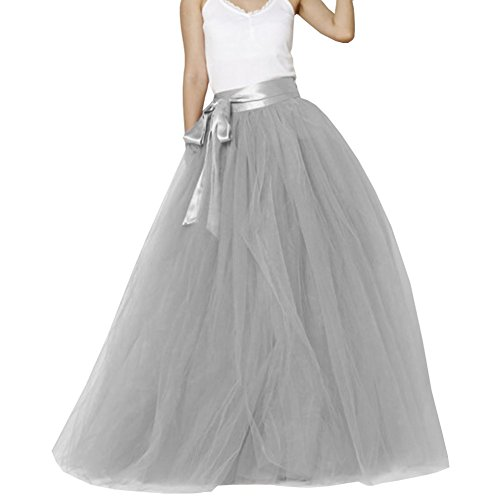 Omelas Women Floor Length A line Long Tulle Tutu Skirt Party Dress with Belt (Grey, M)