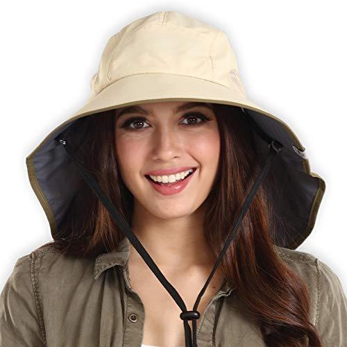 Boonie Safari Sombrero de sol para hombres y mujeres – UPF 50 protección solar – Sombrero de verano de ala ancha....