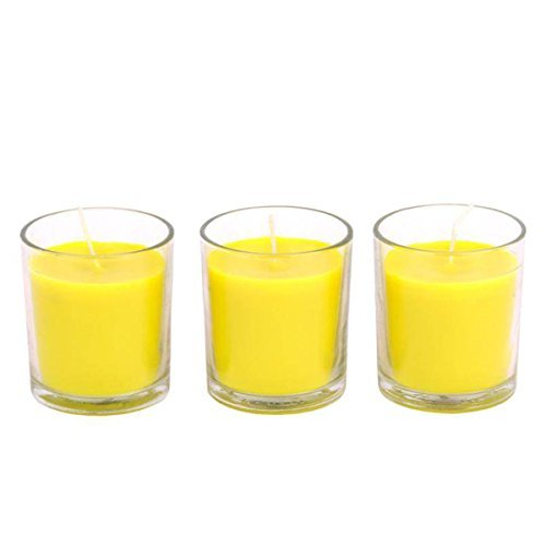 Hosley Set of 3 Highly Scented Citronella, Sage, Lemongrass & Rosemary Mint, Essential Oils, Large Clear Glass Wax Filled Votive Candles. 3
