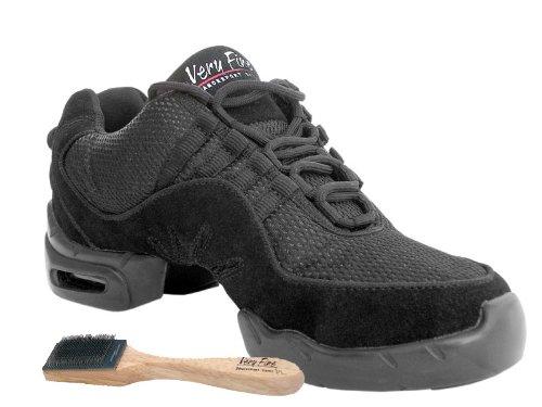 Damen Damen Herren Ballroom Dance Sneakers von sehr fein 002 Black & White Schwarz