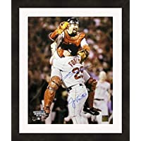 $261 » Jason Varitek & Keith Foulke autographed 16x20 Photo (Boston Red Sox, Last out 2004 World Series) Matted & Framed
