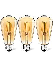 Suncan ST64 Edison vintage glödlampa, Edison LED glödlampa E27 4 W vintage antik glödlampa varm vit dekorativ glödlampa idealisk för nostalgi och retrobelysning i huset café bar etc, 3 stycken