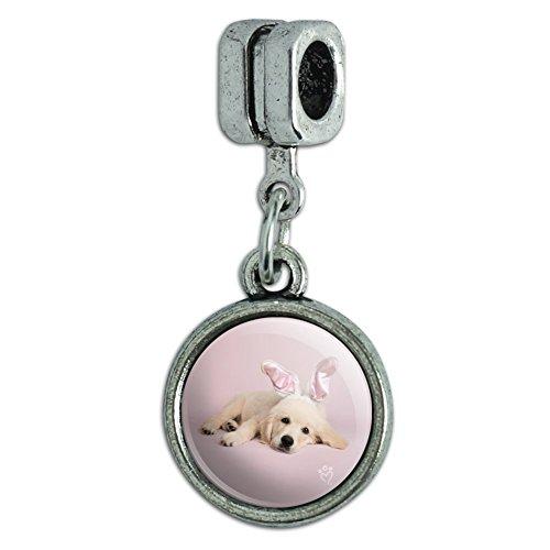 GRAPHICS & MORE Golden Retriever Puppy Dog Rabbit Bunny Ears Italian European Style Bracelet Charm Bead